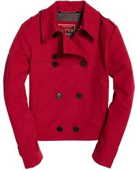 Superdry Trench Cropped Azure Rouge pour S Rouge