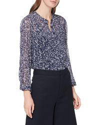 French Connection Areita Crinkle Collarless Shirt Blouse - Blue