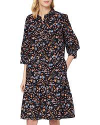 Noa Organic Flower Bird Dress Short Sleeve,Knee Length Vestito Casual - Blu