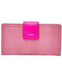 Fossil RFID Tab Wallet Logan RFID Tab Wallet Fuchsia - Rosa
