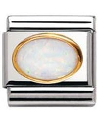Nomination Composable Classic Gemstone White Opal Oval Made Of Stainless Steel And 18k Gold