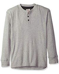 Wrangler Authentics Long Sleeve Waffle Henley Shirt - Gray