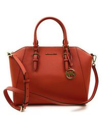 Michael Kors Large Ciara Top Zip S Saffiano Leather Satchel - Red