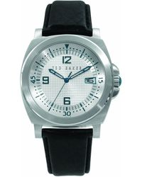 Ted Baker Te1011 Gents Black Leather Strap Watch - Metallic