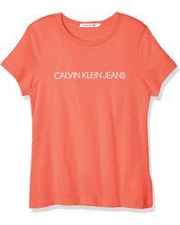 Calvin Klein Institutional Logo Slim Fit Tee Camicia - Arancione