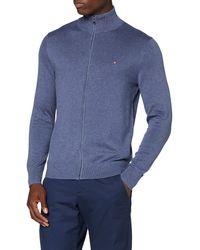 Tommy Hilfiger Organic Cotton Blend Zip Through Suéter - Azul