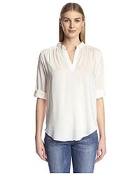 James & Erin - Solid Split Neck Shirt - Lyst