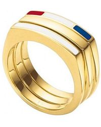 Tommy Hilfiger Ring 3 Pieces Size 13 Stainless Steel Gold Bath 2700581b [ab9893] - Metallic