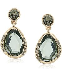 Kenneth Cole - Scattered Pave Gold Tone And Green Stone Drop Earrings - Lyst