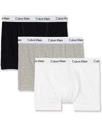 Calvin Klein Boxershorts, Hüft-Shorts, hochwertige Baumwoll-Unterhosen für Männer, mit Stretch-Anteil, elastischer Bund, 3er Pack - Weiß