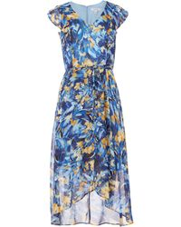 Nine West Ruffle Bodice Wrap Dress - Blue