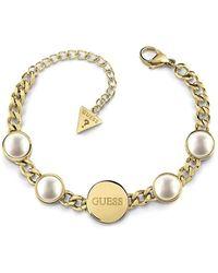 Guess Bracelet Devinez Perles Ubb78071-S Perles Acier inoxydable plaqué or chirurgical Logo synthétique - Multicolore