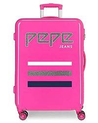 Pepe Jeans World Medium Suitcase, 68 Centimeters - Pink