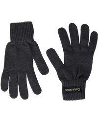 Calvin Klein Felt Knitted Gloves Gants en Maille en Feutre Patch - Bleu