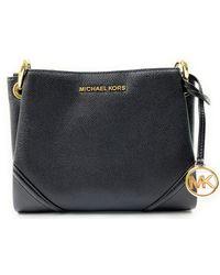 Michael Kors Nicole Large Triple Compartment Leather Crossbody Bag (Black) - Nero