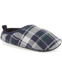 Clarks S Seasonal Kite Snooze Textile Slippers In Navy Check Standard Fit Size 8 - Blue