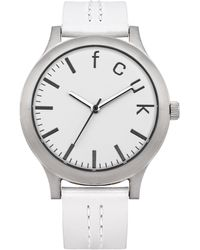 French Connection Quartz Watch With White Dial Analogue Display And White Leather Strap Fc1138w