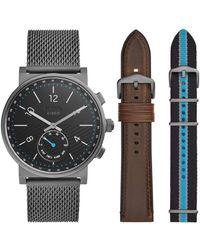Fossil Hybrid Smartwatch Barstow Rauch Edelstahl Mesh Austauschbare Gurt Box Set FTW1184SET - Schwarz