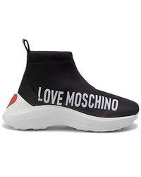 Love Moschino Moschino Scarpe Donna Love Slip-ON Alto Neoprene Fondo Running Colore Nero D20MO01