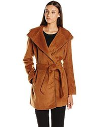 Steve Madden Wool Wrap Coat With Faux Leather Trim - Brown