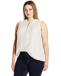 Calvin Klein - Plus Size S/l Top With Texture Lace - Lyst