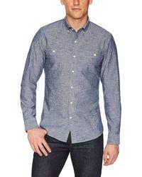 Goodthreads Slim-Fit Long-Sleeve Chambray Shirt Button-Down-Shirts - Blu