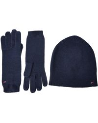Tommy Hilfiger Flag Knit Beanie & Gloves GP Ensemble Bonnet Et Gant, - Bleu