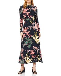 Dorothy Perkins Navy Floral Tiered Shirred Neck Midaxi Dress Casual - Blue