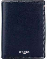 Le Tanneur Portefeuille vertical zippé 2 volets Martin en cuir lisse . - Bleu
