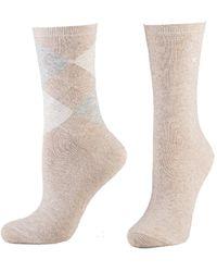 Tom Tailor 2er Pack Argyle Socks 9879 beige Doppelpack Strümpfe Socken Raute-ndesign + uni 2 Paar - Natur