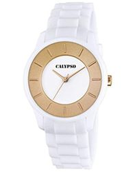 Calypso St. Barth Unisex Quartz Watch With White Dial Analogue Display And White Plastic Strap K5671/2