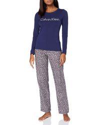 Calvin Klein L/S Pant Set Ensemble de Pijama - Bleu