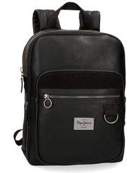 """Pepe Jeans Miller Black Laptop 13,3"""" Backpack"""