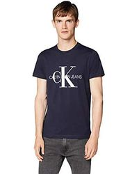 Calvin Klein Iconic Monogram SS Slim Tee Maglietta Uomo - Blu