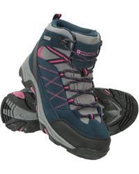 Mountain Warehouse Rapid S Waterproof Boots -suede & Mesh Upper Walking Shoes - Blue