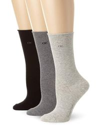 Calvin Klein - 3 Pack Cotton Roll Top Crew Socks - Lyst