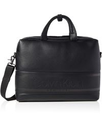 Calvin Klein Striped Logo Pu Laptop Bag - Black
