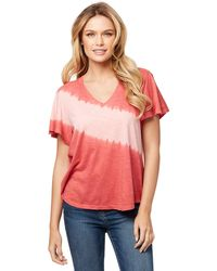 Jessica Simpson Carly Flutter Sleeve Tee Shirt - Red
