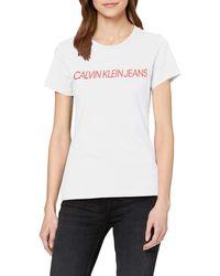 Calvin Klein Institutional Logo Slim Fit Tee T-Shirt - Bianco