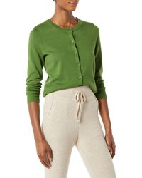 Amazon Essentials Gilet léger à col Rond Cardigan-Sweaters - Vert