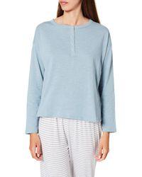 Women'secret ' Secret Camiseta panadera ga Larga algodón Top - Azul