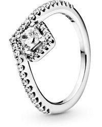 PANDORA - Square Sparkle Rose Ring, Size: EUR-52 - Lyst