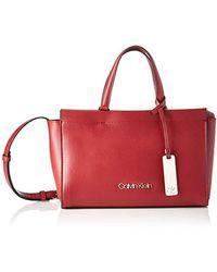 Calvin Klein Damen Enfold Med Tote Umhängetasche, 12x18x28 cm - Rot