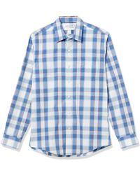 Amazon Essentials Camicia a iche Lunghe Slim Fit Casual Popeline Button-Down-Shirts - Blu
