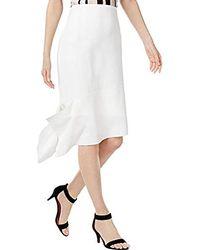 Anne Klein Asymetric Hem Crepe Skirt - White
