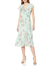 Dorothy Perkins Garden Party-sage Spring Butterfly Chiffon Dress With Ruffle Sleeve And Hem - Green