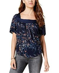 Lucky Brand - Shadow Stripe Floral Print Peasant Top - Lyst