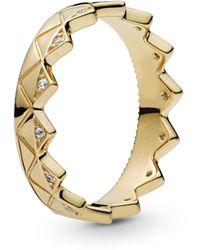 PANDORA Exotic Crown 18k Gold Plated Shine Collection Ring - 168033CZ - Métallisé