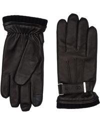 Calvin Klein Leather Rivet Gloves Gants en Cuir - Noir