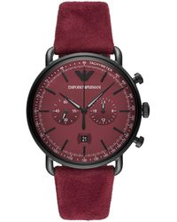 Emporio Armani Chronograph Quarz Uhr mit Leder Armband AR11265 - Lila